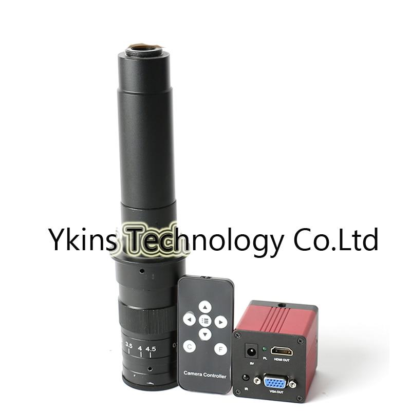 1080 p 1/2. 7 60F/S HDMI VGA L'industrie Numérique Vidéo Caméra de Microscope IR télécommande + 130X/180X/ 300X C-MOUNT Caméra Lentille