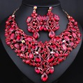 Dubai Jewelry Wedding Jewelry Fashion Big crystal necklace earrings set African brides Jewelry sets