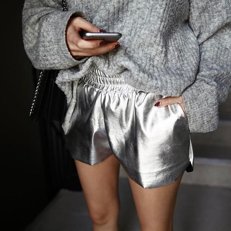 Silver Shorts Summer Fashion Women's Solid Leather Shorts Wide Leg Female Casual Loose Hot Spodnie Punk Wear High Waist Pocket