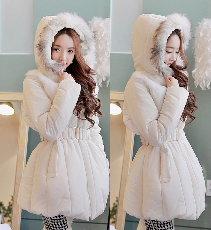 Luxury Fur Hooded Down Parkas 2016 Fashion Winter Coat Women Slim Waist Thicken Outerwear Woman  Coat H7107 2015 hot new winter thicken warm woman down jacket coat parkas outerwear hooded fox fur collar luxury long brand plus size 2xxl