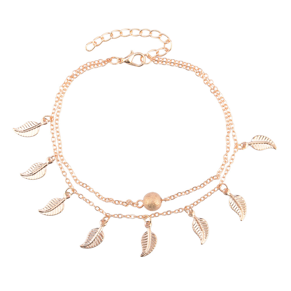 2017 New Fashion Double Chain Leaf Tassel Anklet Silver&Gold Color Frosted beads Anklets for Women Girl Foot Jewelry