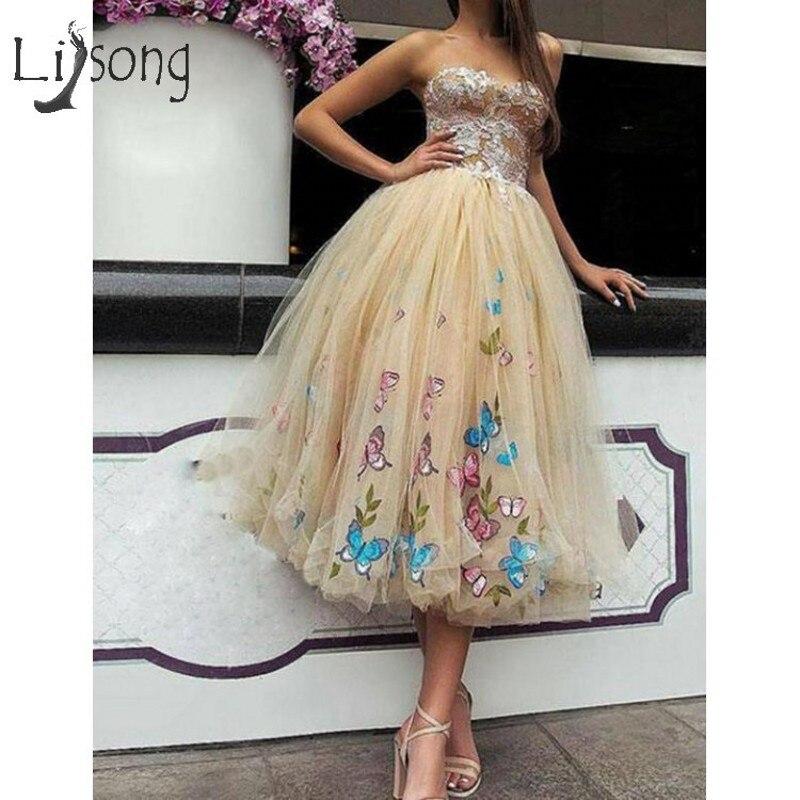 Jolie 2019 or clair 3D papillon Tulle robes de Cocktail dentelle Tutu thé longueur robes de bal chérie à lacets robe de retour