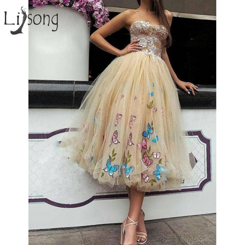 Pretty 2019 Light Gold 3D Butterfly Tulle Cocktail Dresses Lace Tutu Tea Length Prom Gowns Sweetheart Lace Up Homecoming Dress