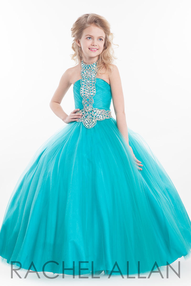 Teal Blue Stylish Beaded Tulle Flower Girls Dress High Neck Long ...