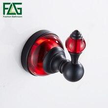 FLG Robe Hook Cloth Space Aluminum Red Crystal & Glass Towel Rack Coat  Bathroom Accessories