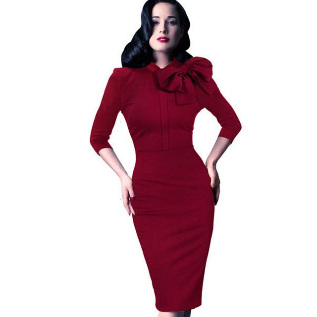 Mujeres de la vendimia del otoño elegante 1950 s retro rockabilly arco delantero partido formal de las empresas al vaina bodycon pencil dress b244