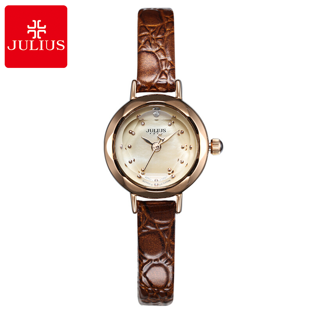 Hot Women Leather Strap Armbåndsur Kvinner Rhinestone Klokker Mote Casual Japan Quartz Watch Luksus Berømte Julius 482 Klokke