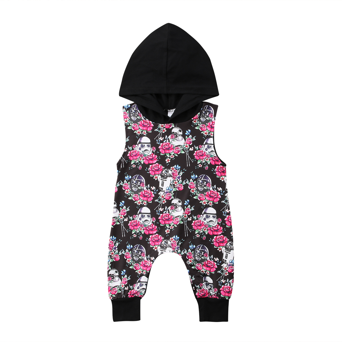 Infant Kids Toddle Baby Girls Sleeveless Floral Cotton Romper Hooded Jumpsuit Playsuit Sunsuit Outfit Clothes Baby Girl 0-3T