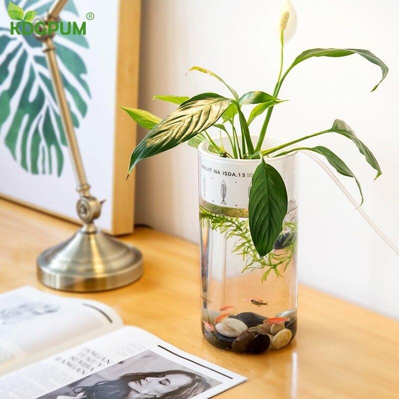 Pot de fleur en plastique bureau verre rond réservoir de poisson avec pompe à Air d'irrigation automatique hydroponique plante planteur décoratif à la maison