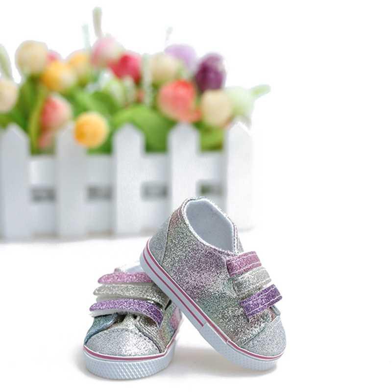 Mode Pailletten Pop Schoenen Past 18 Inch Pop 43 Cm Poppen Babypop Diy Schoenen Voor Amerikaanse Pop Accessoires Speelgoed gift