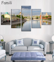 5 Panels Building Russia Moscow Kremlin Art Prints Canvas Painting By City Picture Digital Purple Oil Style Home Decor Unframed
