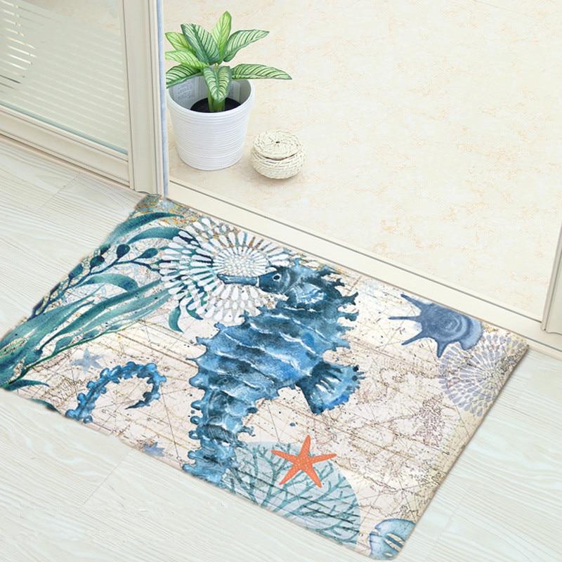 1Pc 40x60cm Printed Sea Animal Turtle Pattern Mats Bedroom