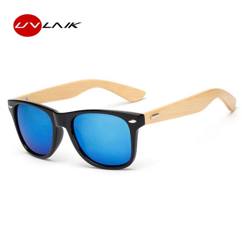 de332bcacb UVLAIK Vintage clásico gafas de sol de madera hombres mujeres espejo  reflectante lente gafas de sol de bambú gafas