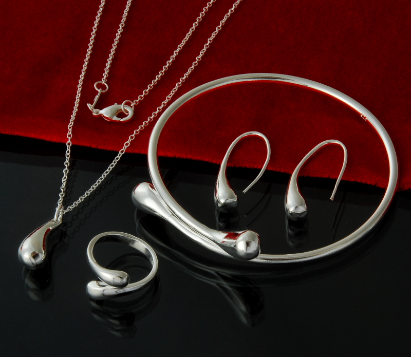 Fashion Wedding Bridal Jewelry Set N925 Stamped Silver color Water Drop Bangles+Necklace+Rings+Earrings Sets for Women