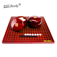 BSTFAMLY New Yunzi Go Chess 19 Road 361 Pcs Chinese Old Game of Go Weiqi Bamboo Chessboard and Pot No Folding Table Toy Gift G11