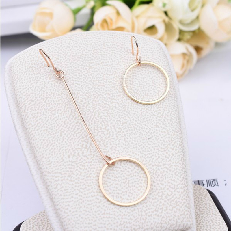 E0361 New Fashion Asymmetric Earring Gold Color Round Circle Pendant Drop Earrings For Women Exquisite Ear Jewelry Birthday Gift