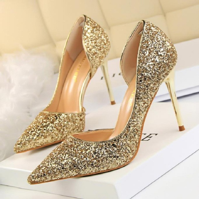 New Europe and the United States leather silver pointed high heel gradient  sequined women s singles champagne gold wedding shoes 7e93240ad386