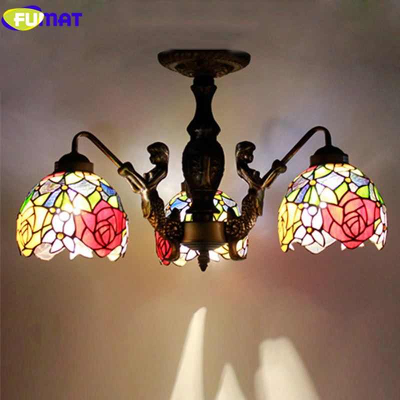 Tiffany Stained Glass Pendant Lamp Vintage Mermaid Metal Body Restaurant Living Room Suspension Lamp Dining Room
