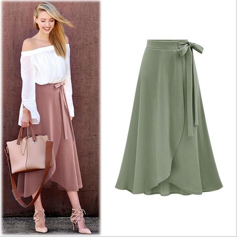716324da56 YAGENZ 6XL Large size Ladies Skirt Spring Summer New Black High waist  Pleated Long skirt Lady Elegant Irregular Big Swing Skirt-in Skirts from  Women's ...