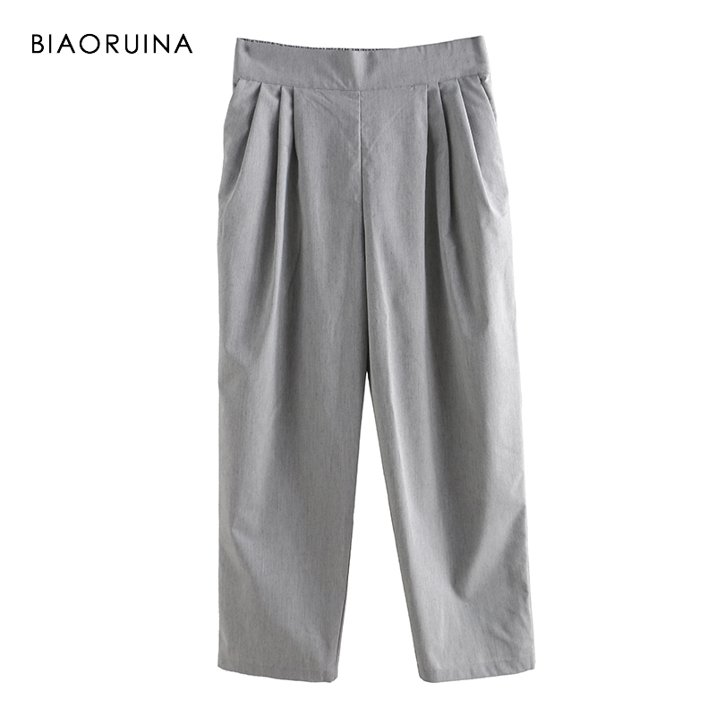 BIAORUINA Women Casual   Wide     Leg     Pant   Ankle Length Female Cotton Linen All-match   Pant   Girls Elasic High Waist Fashion Trousers