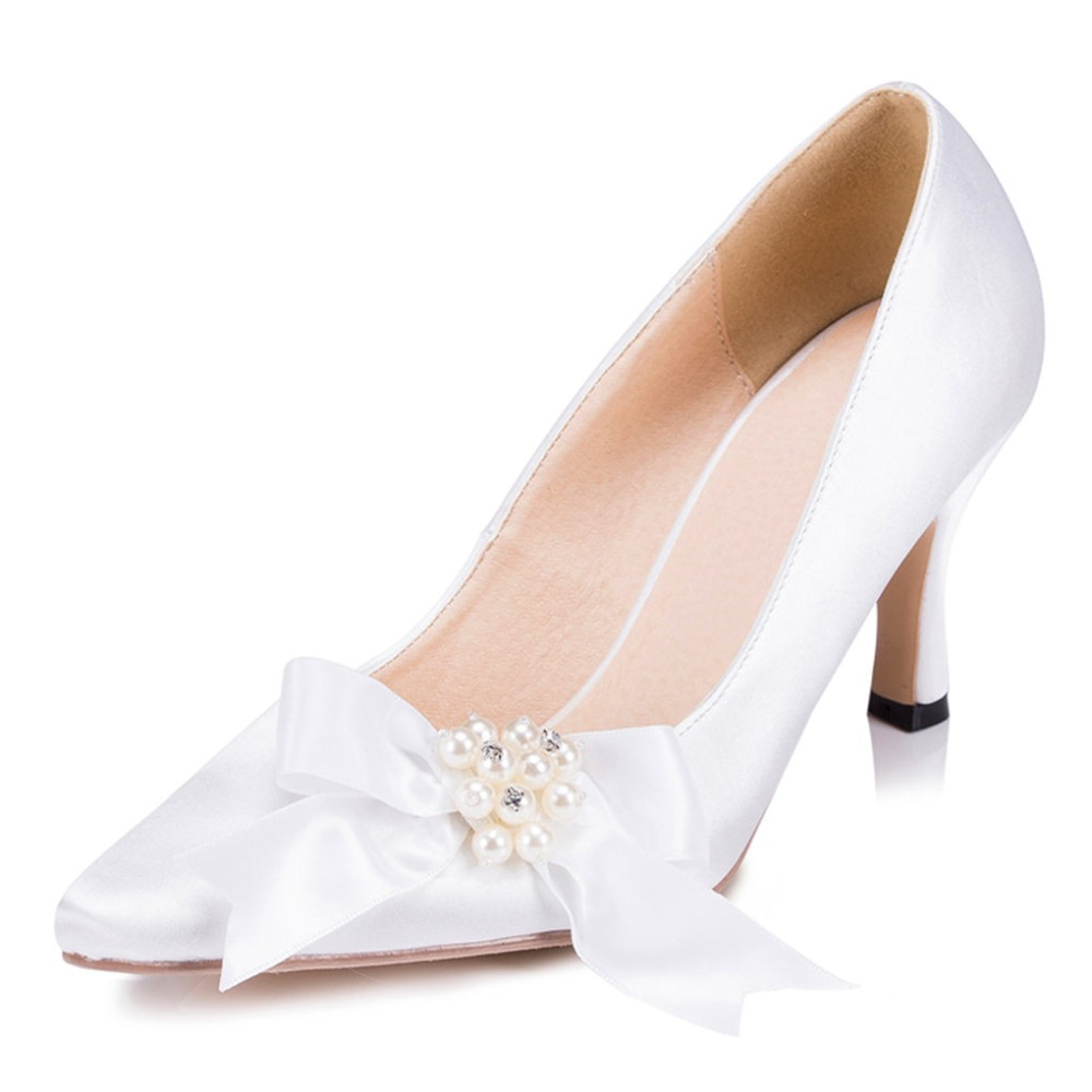 ФОТО Women's Bowtie Pearl Wedding High Heels Shoes Party Dress Bridal Bridesmaid's Shoes Pumps Court Shoes Zapatos De Boda 1512 JJ