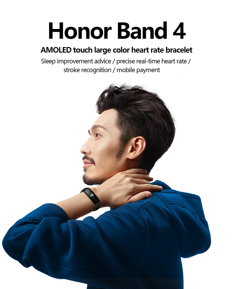"Original Huawei Honor Band 4 Smart Bracelet 0.95"" OLED Touch Screen Waterproof Fitness Tracker bracelet Heart Rate Sleep Monitor 3"