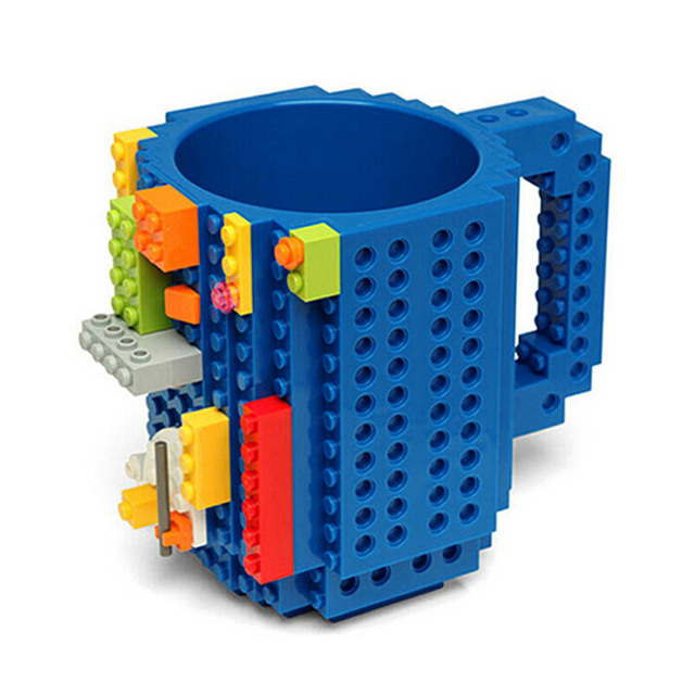 1Pc 12oz Build-On Brick Mug Type Building Blocks Coffee Cup DIY Block Puzzle Mug Portable Drinkware Drinking Mug 4 Colors 3