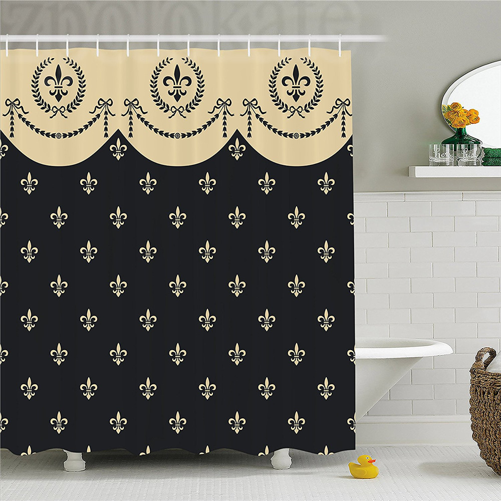 Chinese Lady Wearing Cheongsam Waterproof Fabric Shower Curtain 12 Hooks /&  Mat