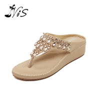 NIS 2017 Woman Leather Crystal Platform Beach Sandals Purple Fashion Rhinestones Wedges Sexy Flats Flip Flops Sweet Lady Shoes