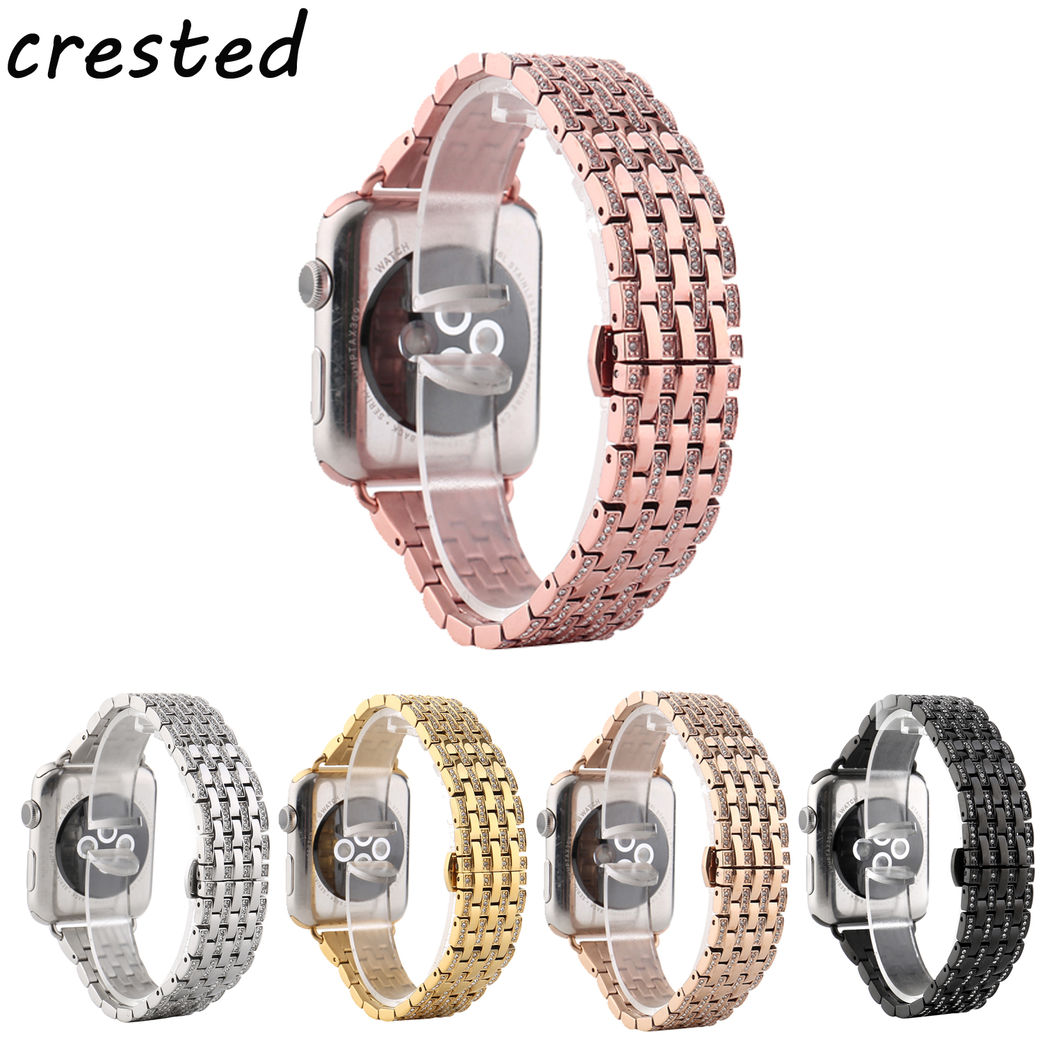 CRESTED stainless steel watch band strap for apple watch 42mm/38 bracelet watchband butterfly diamond strap for iwatch 1/2 burgundy pleated design v neck long sleeves t shirts