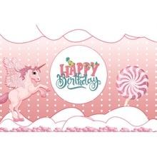 Laeacco Baby Children Cartoon Scene Flying Unicorn Happy Birthday Photographic Background Photography Backdrops For Photo Studio