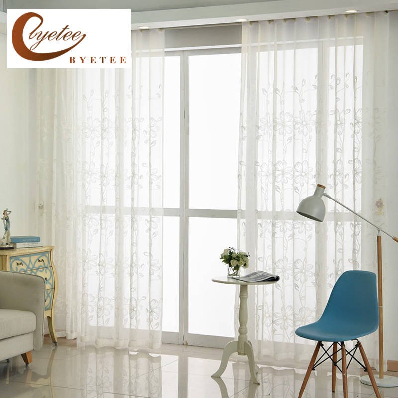 [byetee] Gauze Curtains Window Screen Embroidered Red