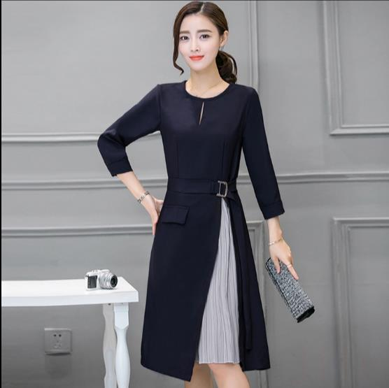 Detail Feedback Questions about Long Sleeve Patchwork Skater Dresses Autumn  Winter Spring Casual A Line Dress Fake Two Pieces Sashes Women Office Dress  Z958 ... 38f7f9a78ff0