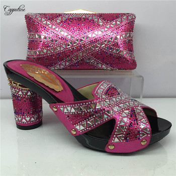Excellent fuchsia high heel evening party shoes and bag set decortaed with stones for lady GY6, heel height 7 cm