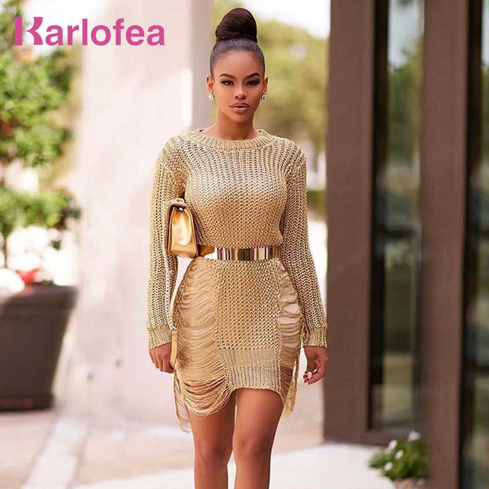 c94ec3a17da Karlofea Gold Metallic Mini Dress For Female Autumn Sexy Knitted Sweater  Dresses Side Cut Out Fashion