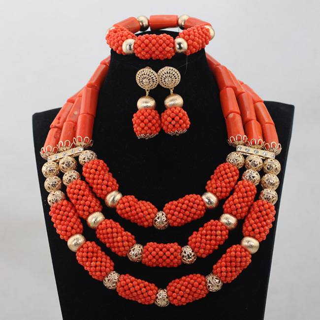 Fashion Chunky Coral Beads Jewelry Set African Party Jewerly Set Coral Beads Women Jewelry Set QW963