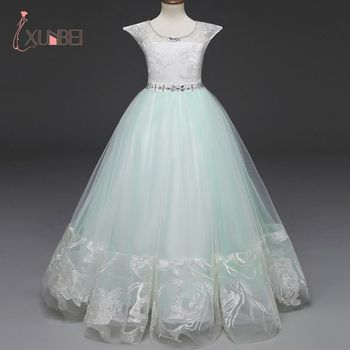 Princess Ball Gown Green Lace Flower Girl Dresses 2019  Kids Communion Dress Pageant Dresses robe enfant fille mariage emerald green girl s pageant dresses for teens princess flower girl dresses birthday party dress ball gown