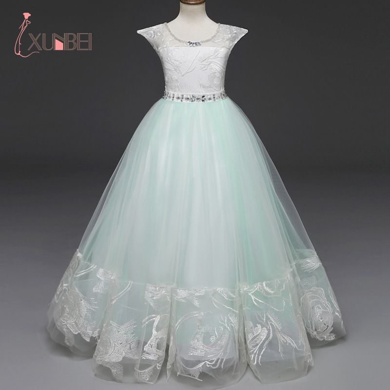 Princess Ball Gown Green Lace   Flower     Girl     Dresses   2019 Kids Communion   Dress   Pageant   Dresses   robe enfant fille mariage