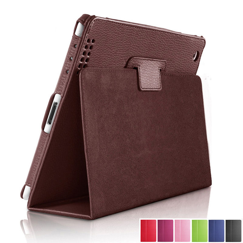 Cover Folio-Case Smart-Stand-Holder Apple iPad PU for Auto-Sleep/wake-Up Flip-Litchi