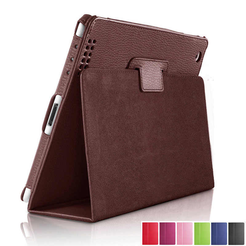 Untuk Apple Ipad 2 3 4 Case Auto Tidur/Bangun Flip Lengkeng Pu Leather Cover For New Ipad 2 iPad 3 Smart Stand Pemegang folio Case