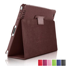 Para Apple ipad 1 2 3 funda Auto Sleep/Wake Up Flip Litchi Funda de cuero PU para nuevo ipad 2 ipad 3 Smart soporte Folio funda(China)