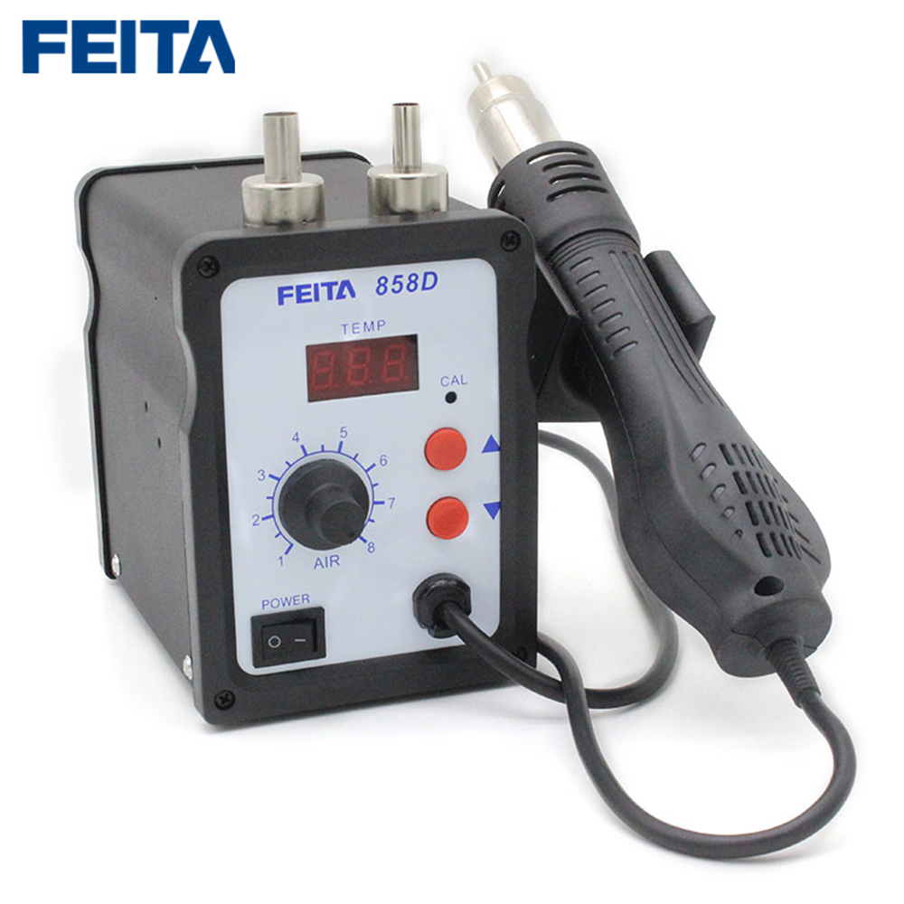 цена FEITA 858D Hot Air Gun SMD Rework Solder Station Digital Display Soldering Heat Gun Welding Repair Tools with three nozzle в интернет-магазинах
