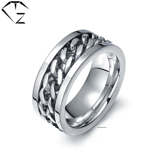 Gz Drehbare Ring 316l Edelstahl Silber Farbe Hochzeit Ringe Fur Mann