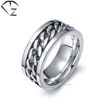 GZ Rotatable Ring 316L Stainless Steel Silver-Color Wedding Rings for Man Jewelry USA Size 6 to 15
