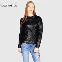 Ladyvostok الخريف جديد موضة الأسود سترة الإناث سترة جلدية قصيرة pu السائق سترة معطف سستة سيدة سترة جلدية J7804