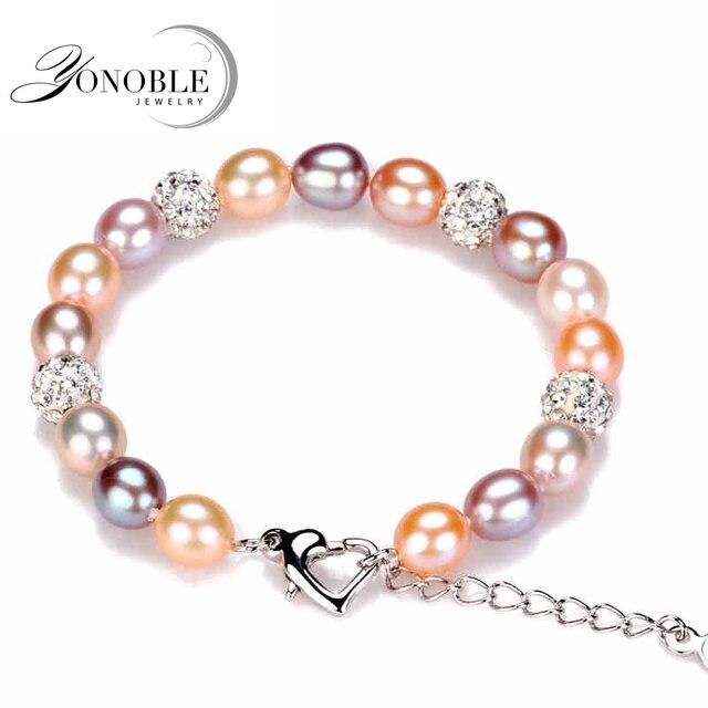 Мода шарм браслеты природный жемчуг женщины, реальная пресноводная перла браслет стерлингового серебра 925 день рождения дочери подарок