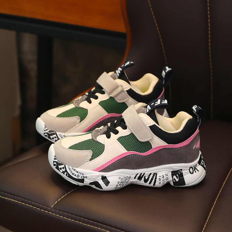 2019 ฤดูหนาวเด็กกีฬารองเท้าเด็กสบายๆ Patchwork รองเท้าผ้าใบแฟชั่นฤดูใบไม้ร่วง Graffiti นักเรียนหญิงรองเท้าลื่น