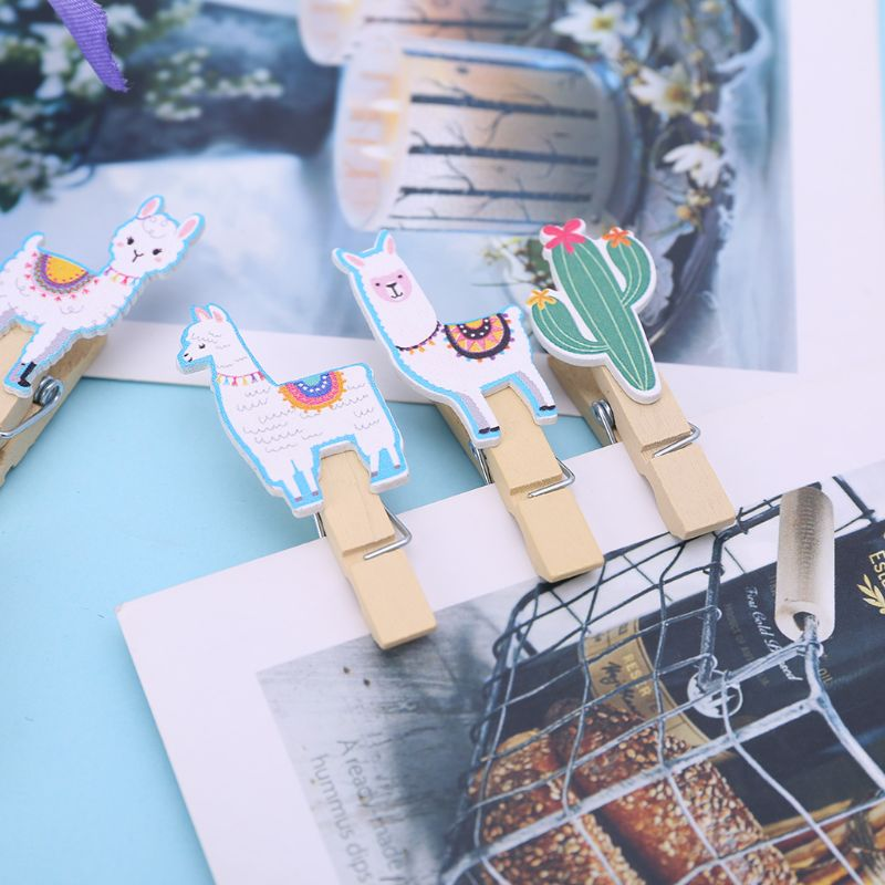 10Pcs/Set Colored Ethnic Alpaca And Cactus Printed Wooden Note Memo Photo Pegs Paper Tag Clips Holder DIY Craft With Hemp Rope - 4
