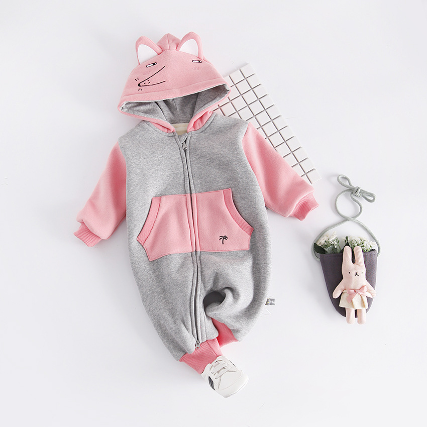 In Winter Clothes New Baby Infant Thickened Exercise Stitching Clothes To Keep Warm Out Climbing