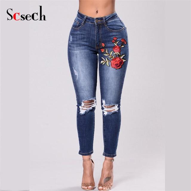 42c3e78d5c SCSECH Floral embroidery jeans Slim Drawstring Long Pencil Pants Casual  Pockets Skinny Trousers Big Size Female Slim Jeans DA07